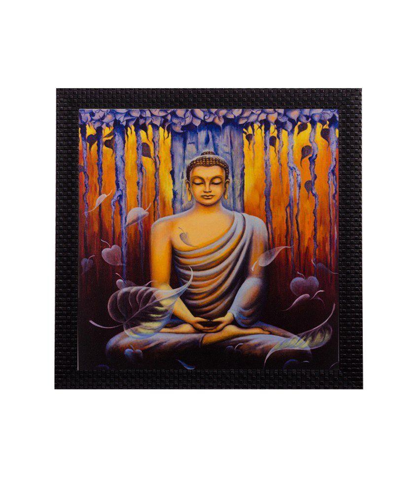 eCraftIndia Meditating Buddha Matt Textured Framed UV Art Print