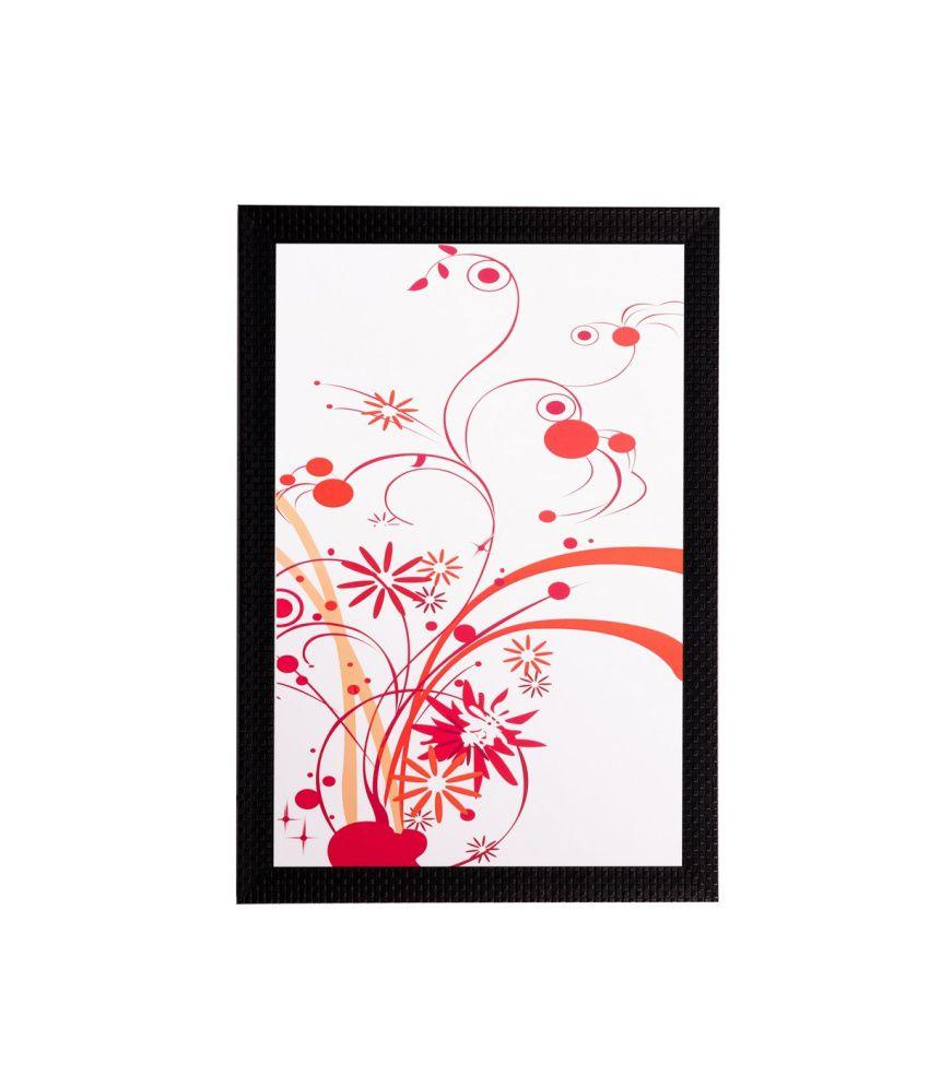 eCraftIndia Red Floral Matt Textured Framed UV Art Print