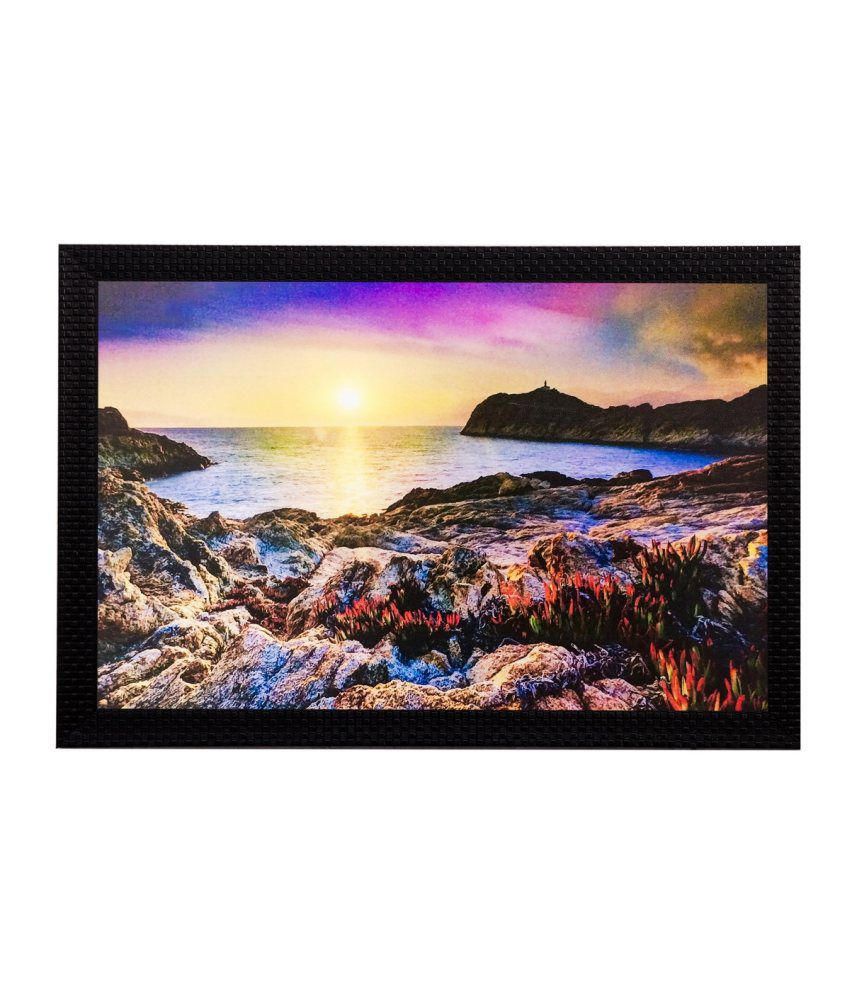 eCraftIndia Sunset View Matt Textured Framed UV Art Print