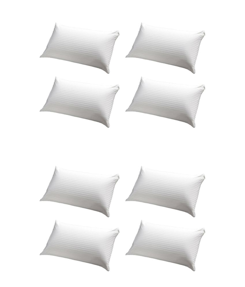 JDX White Polyester Pillows Pack Of 8