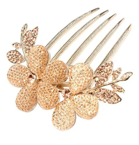 Kobwa Imported Kobwa Champagne Bridal Wedding CharmCrystal Rhinestone Flower Leaf Hair Barrettes/Clip/Comb With Keyring