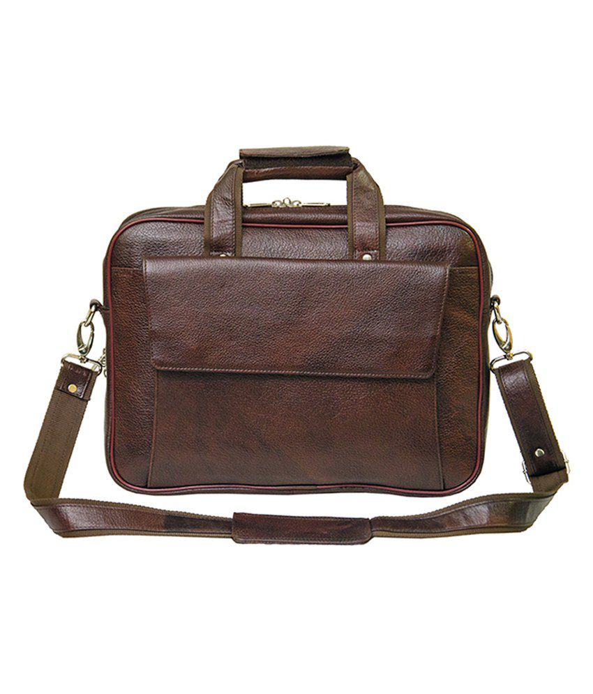 Shubham Brown Leather Laptop Bag