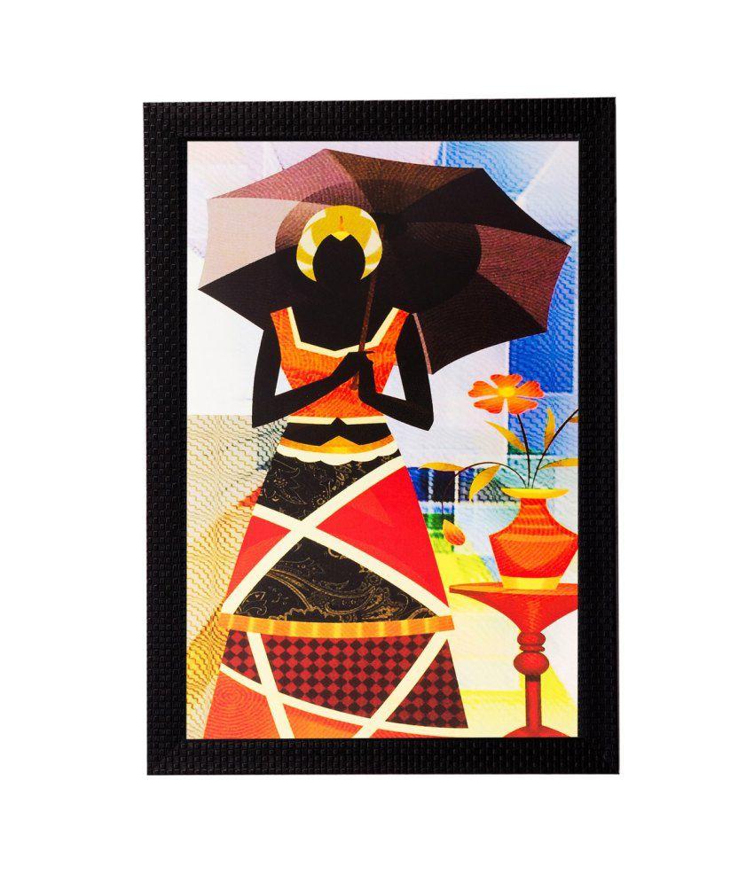 eCraftIndia Abstract Lady with Umbrella Matt Textured Framed UV Art Print