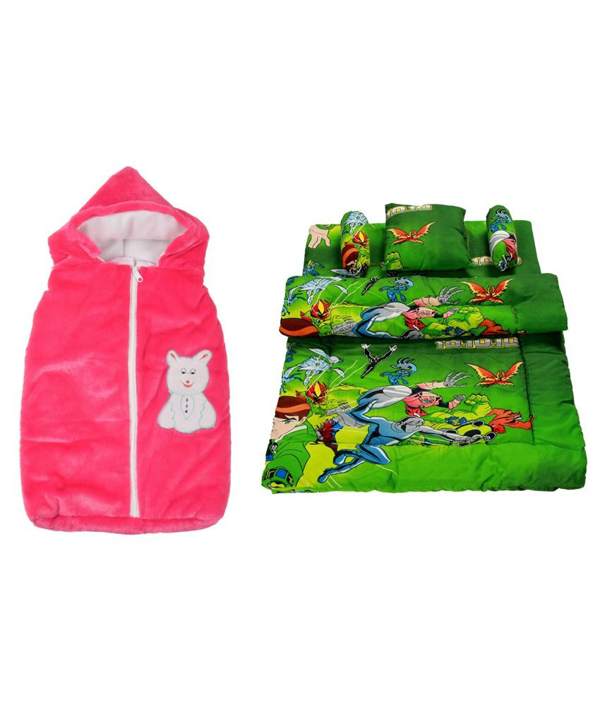Royal Shri Om Multicolour Baby Wrap with Bedding Set