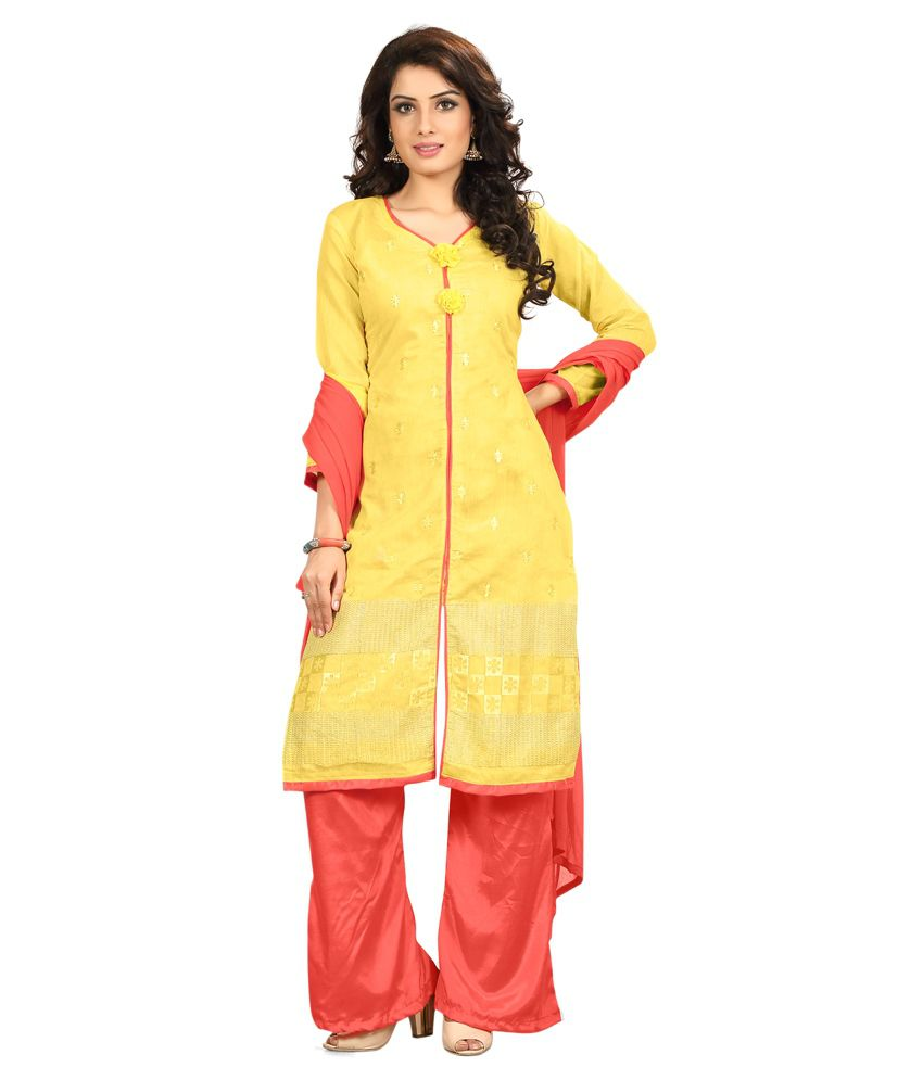 The Four Hundred Yellow Chanderi Straight Unstitched Dress Material