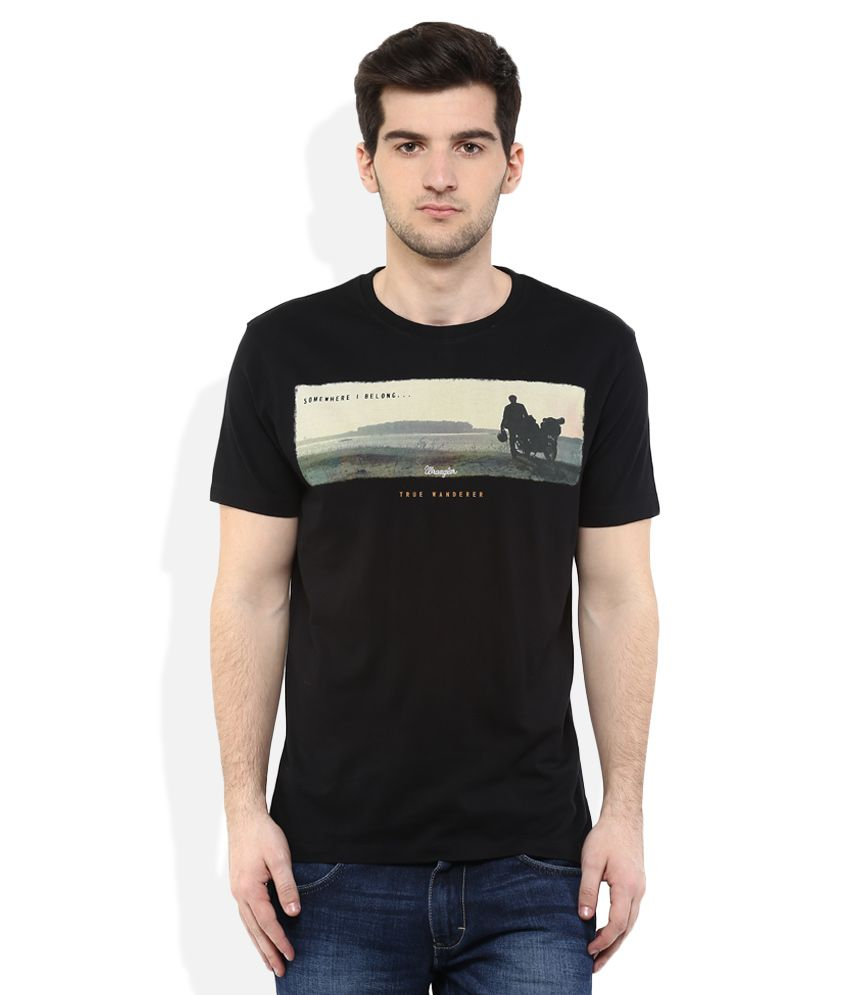 Wrangler Black Round Neck T Shirt