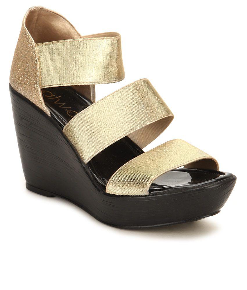 87ea1cd102 Catwalk Gold Wedges Heels Price in India- Buy Catwalk Gold Wedges Heels  Online at Snapdeal