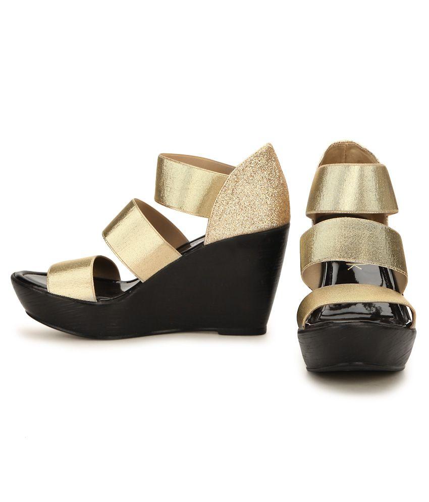 7693f30ecc Catwalk Gold Wedges Heels Price in India- Buy Catwalk Gold Wedges ...