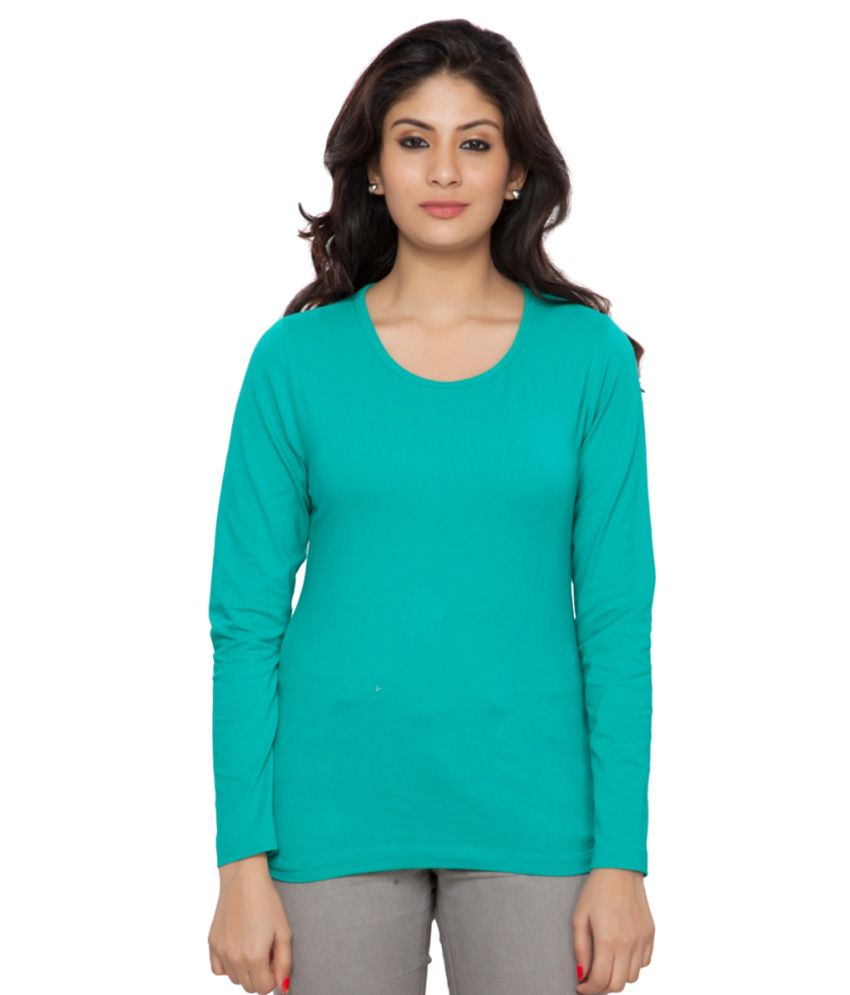 Clifton Blue Plain Full Sleeves Tees for Women