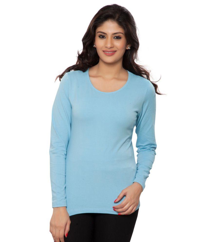 Clifton Blue Plain Full Sleeves Tees for Women