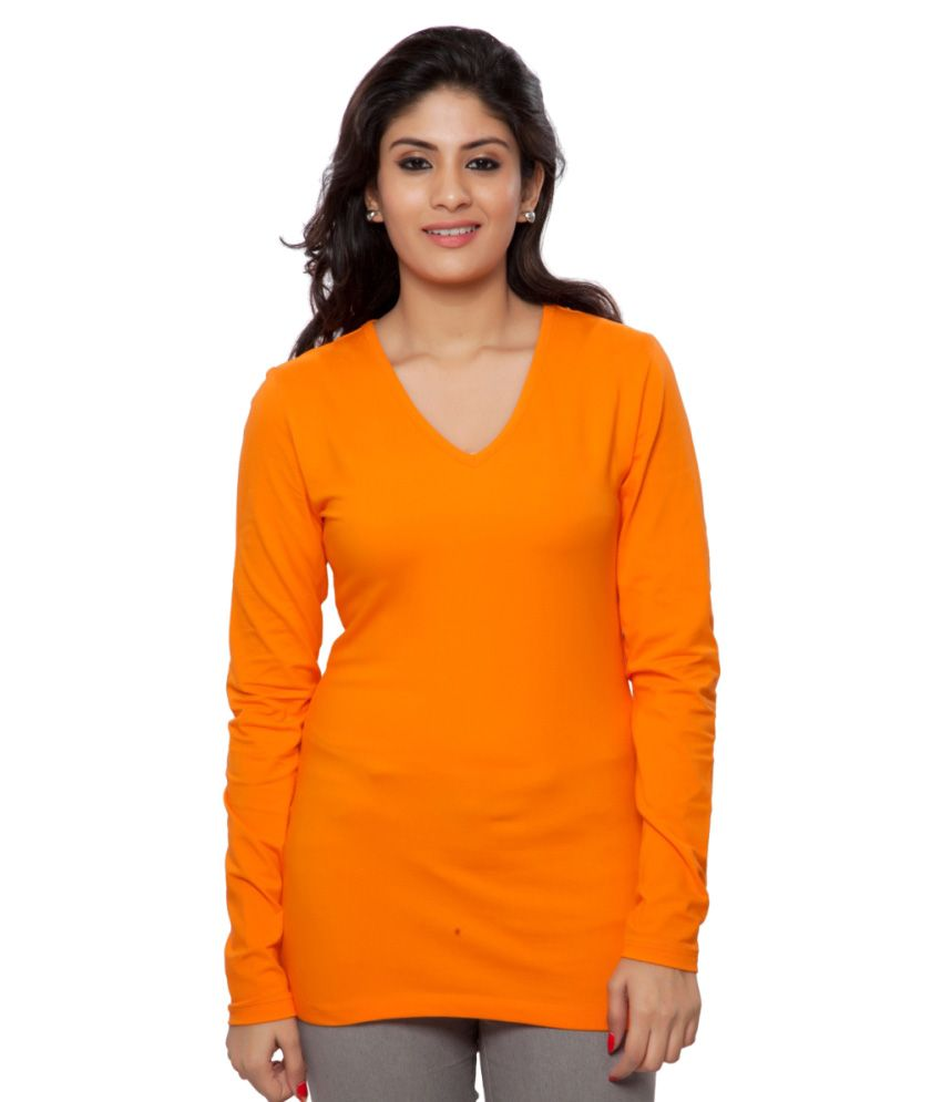 Clifton Orange Full Sleeves Tees for Women