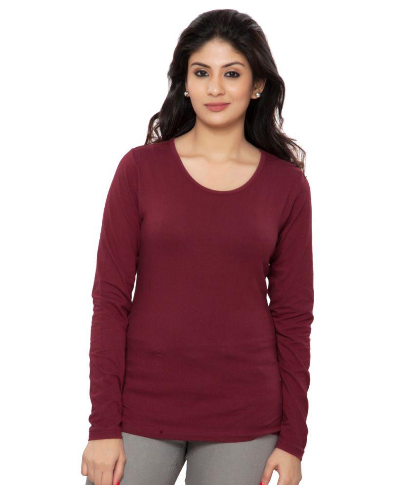 Clifton Purple Plain Full Sleeves Tees for Women