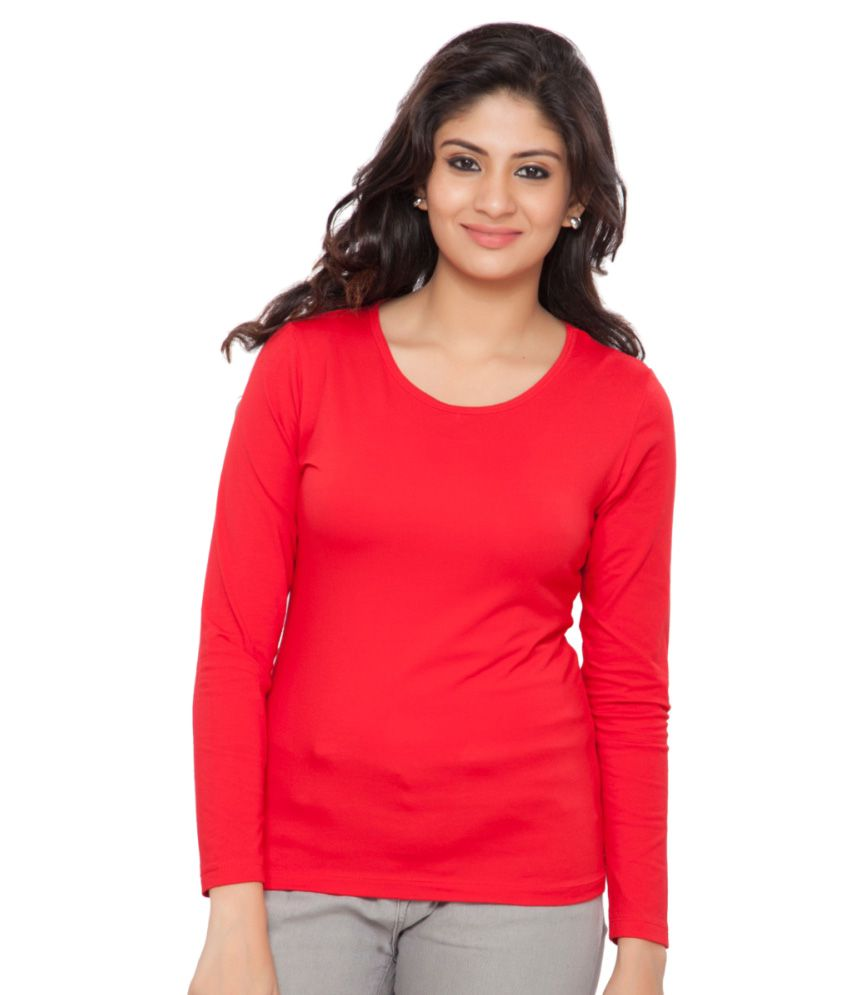 Clifton Red Plain Full Sleeves Tees for Women