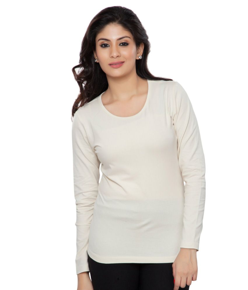 Clifton White Plain Full Sleeves Tees for Women