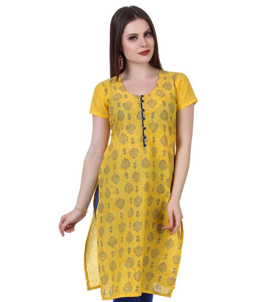 Noor Yellow Jacquard Straight Kurti