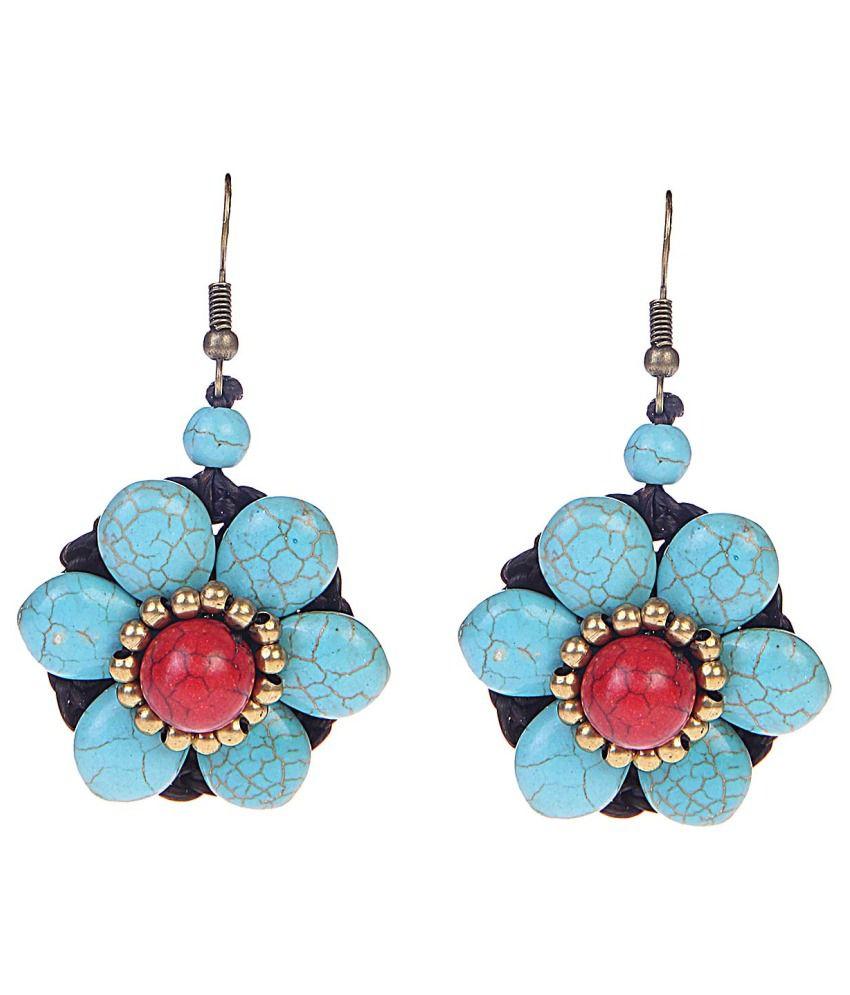 Chkokko Blue Alloy Hanging Earrings