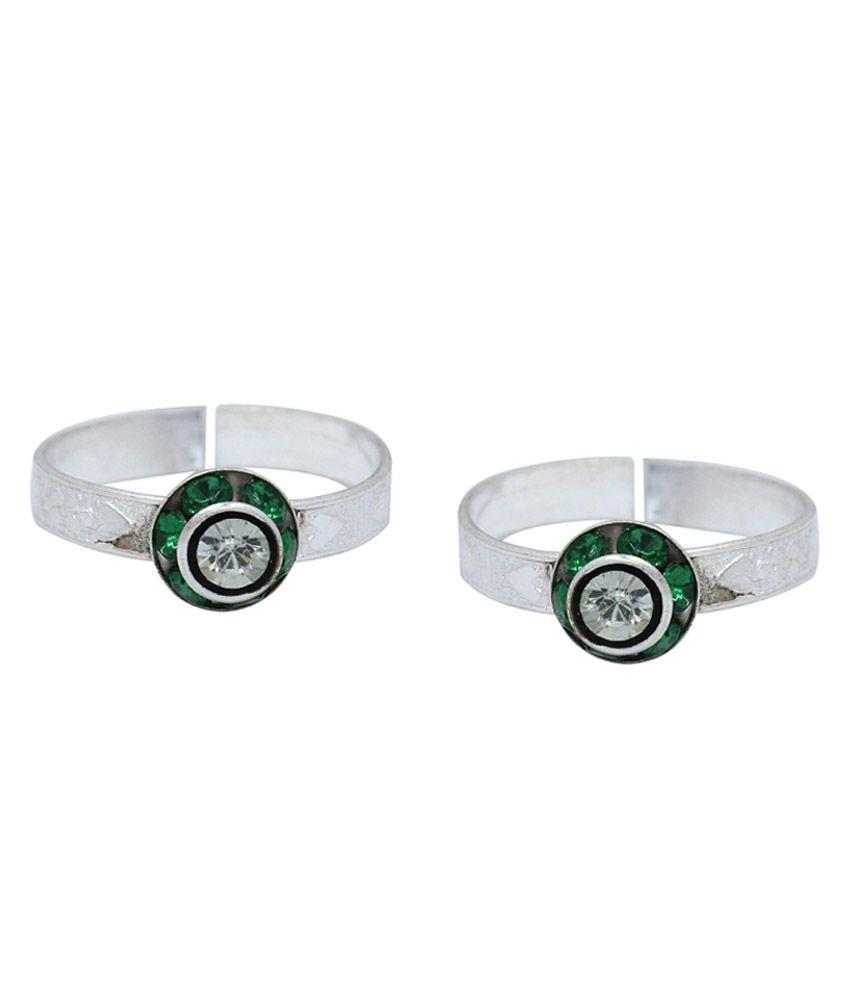 Ranvijay Silver German Silver CZ Toe-Ring