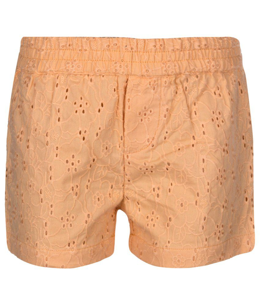 Tickles Peach Cotton Shorts for Girls