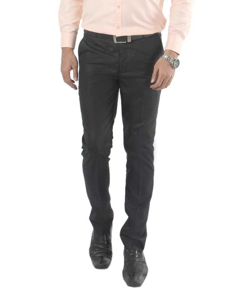Zido Black Regular Fit Flat Trousers