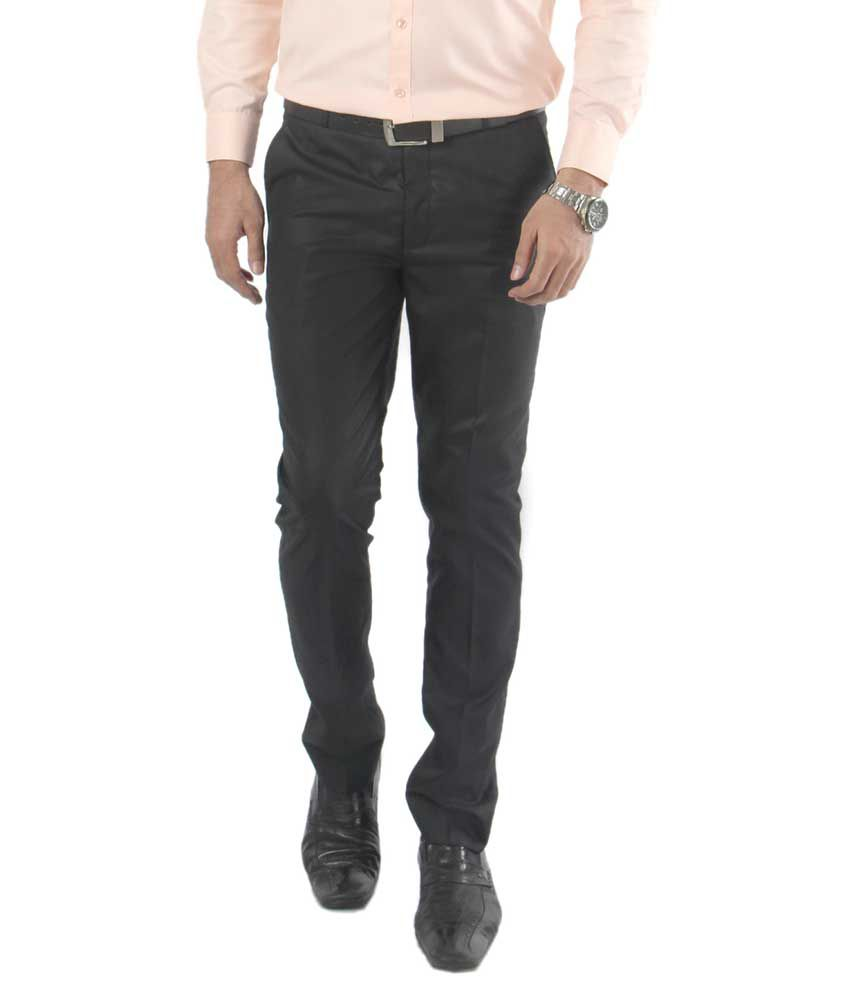 Zido Black Regular Fit Flat Trousers