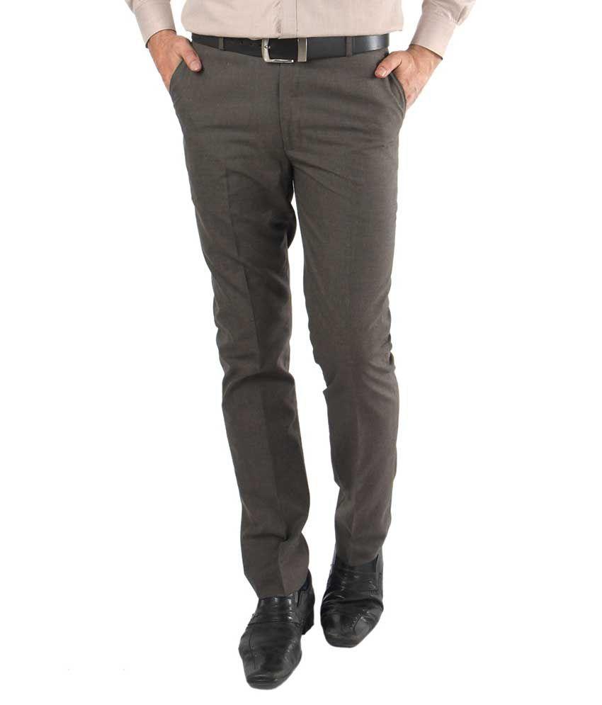 Zido Brown Regular Fit Flat Trousers