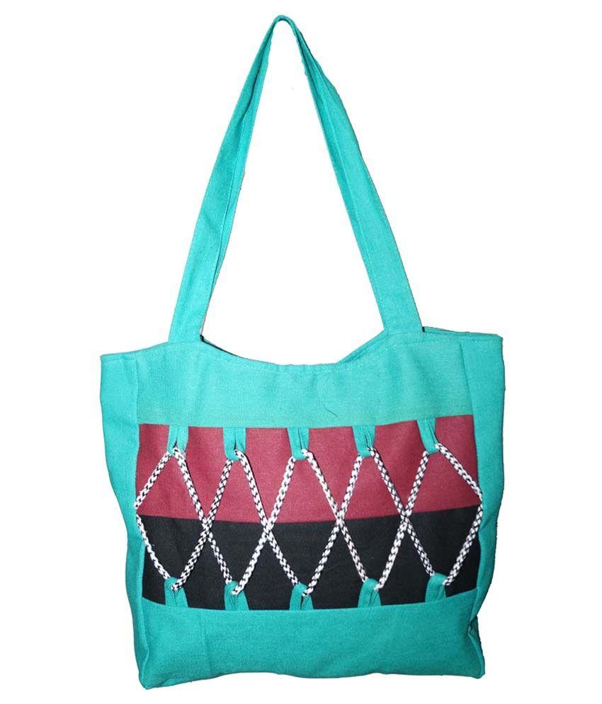 JBI Turquoise Canvas Shoulder Bag