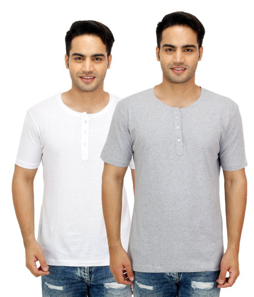 Candy House Multi Henley T Shirts Pack of 2