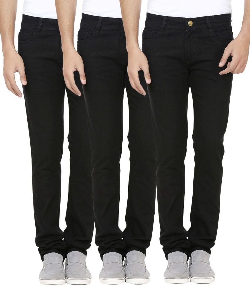 Fuego Black Regular Fit Jeans Pack of 3