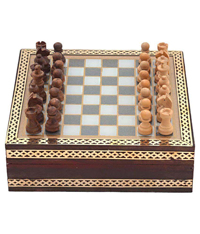 Jaipur Raga Brown Wooden Chess Board