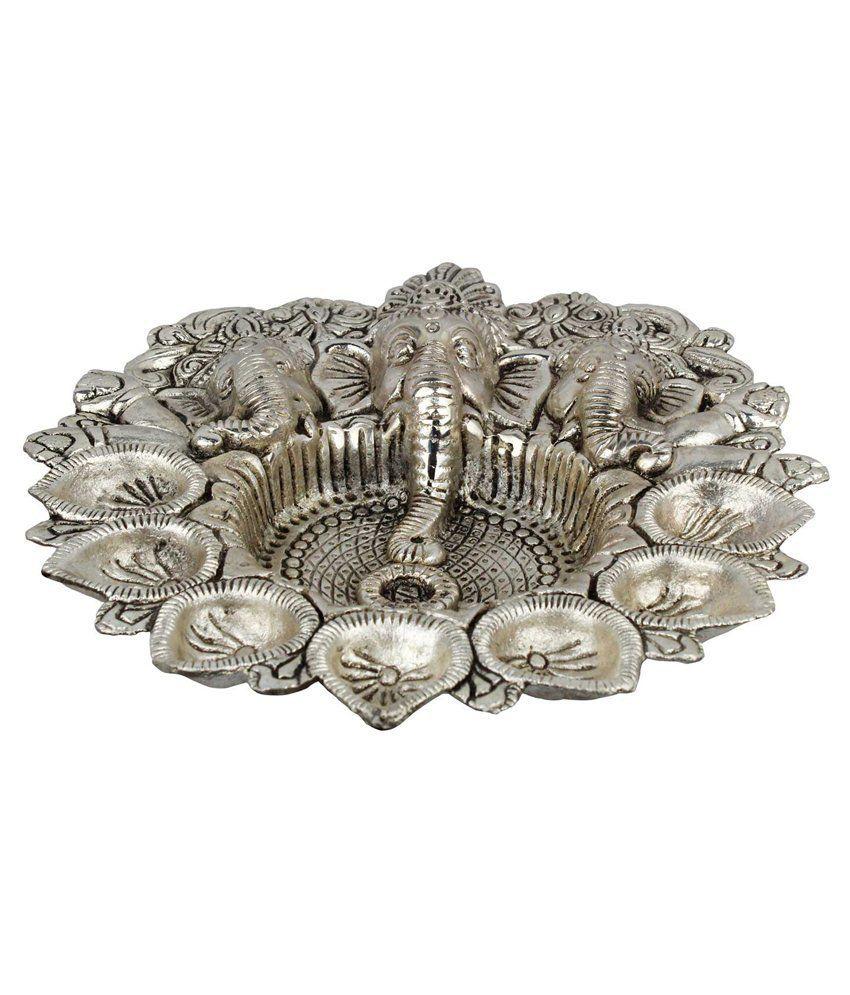 Jaipur Raga Silver White Metal God Ganesha Dia Idol
