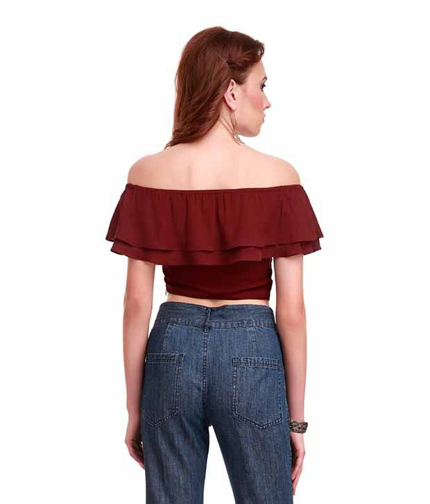 283ab3e90de SASSAFRAS Maroon Frill Crop Top - Buy SASSAFRAS Maroon Frill Crop Top Online  at Best Prices in India on Snapdeal