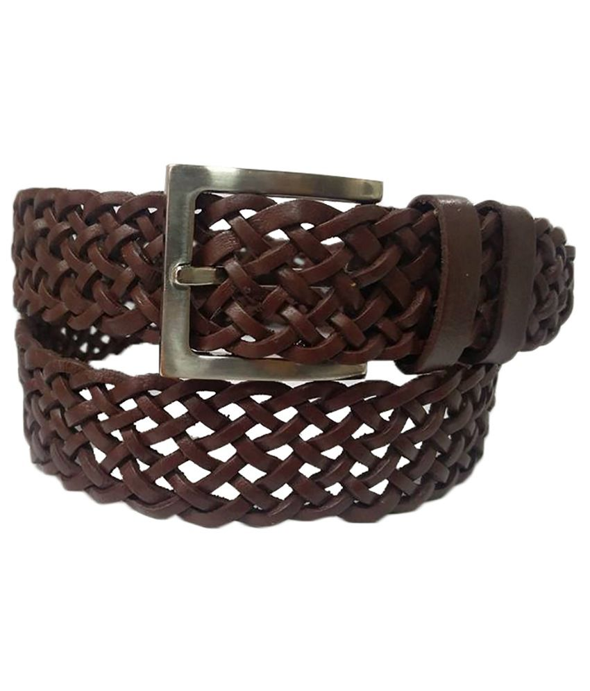 B'coz Brown Leather Casual Belt for Men