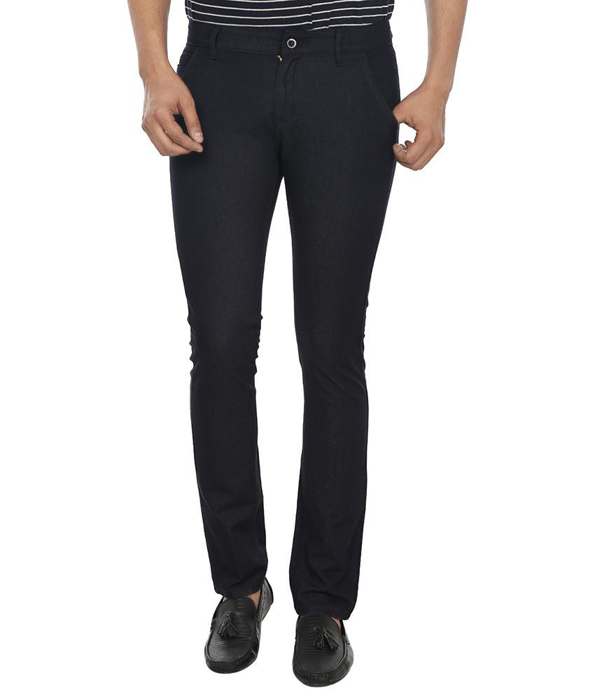 Fever Blue Slim Fit Flat Trousers