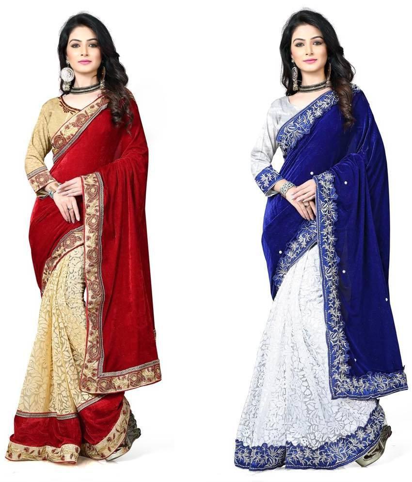 Krishana Creation Multicoloured Velvet Saree Combos