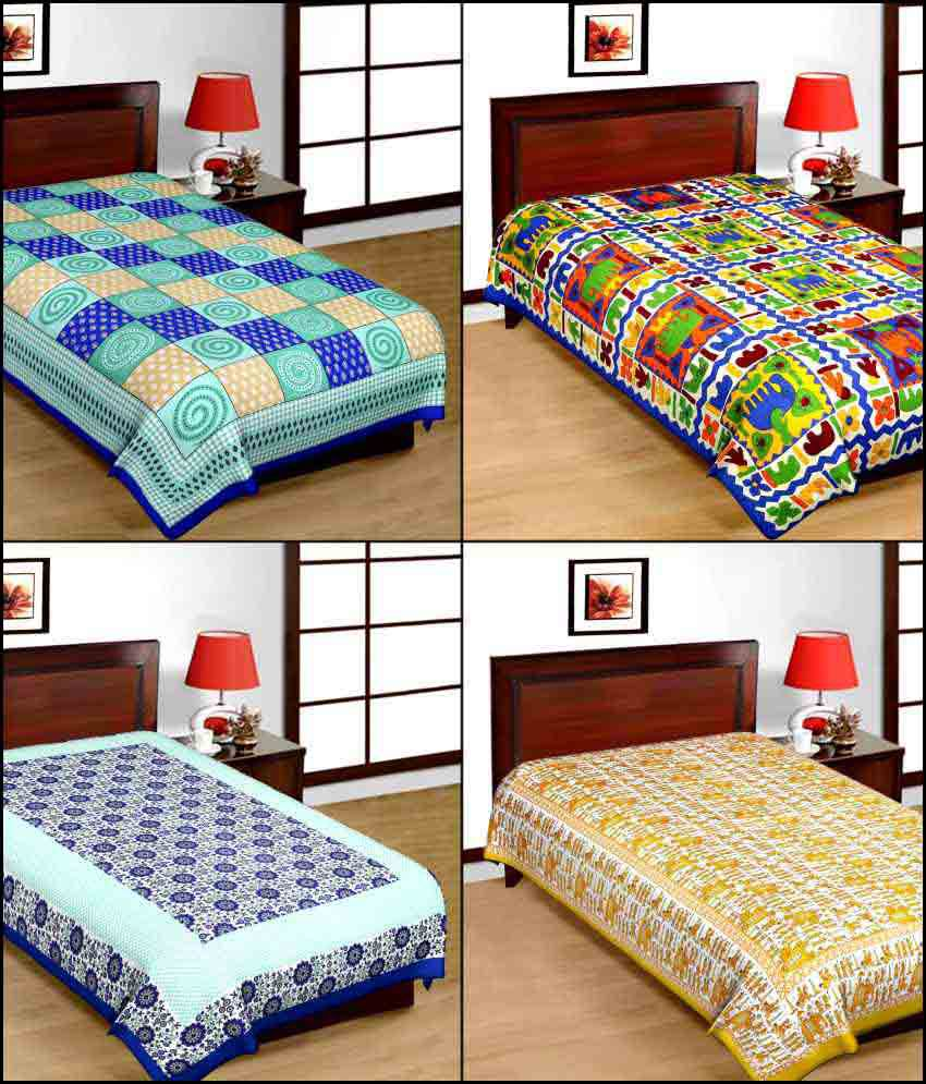 UniqChoice Multicolour Traditional Cotton Single Bedsheet - Pack of 4