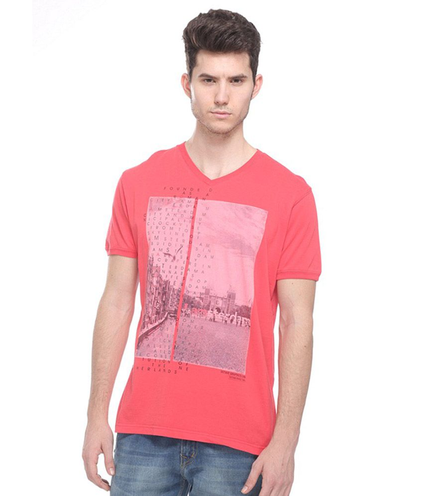 Octave Red V-Neck T Shirts