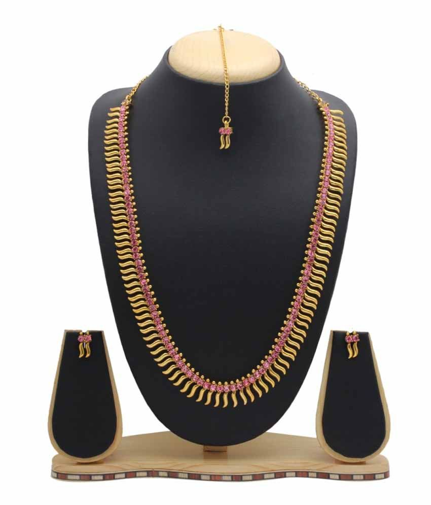 Party Queen Golden Copper Necklace Set with Maang Tika