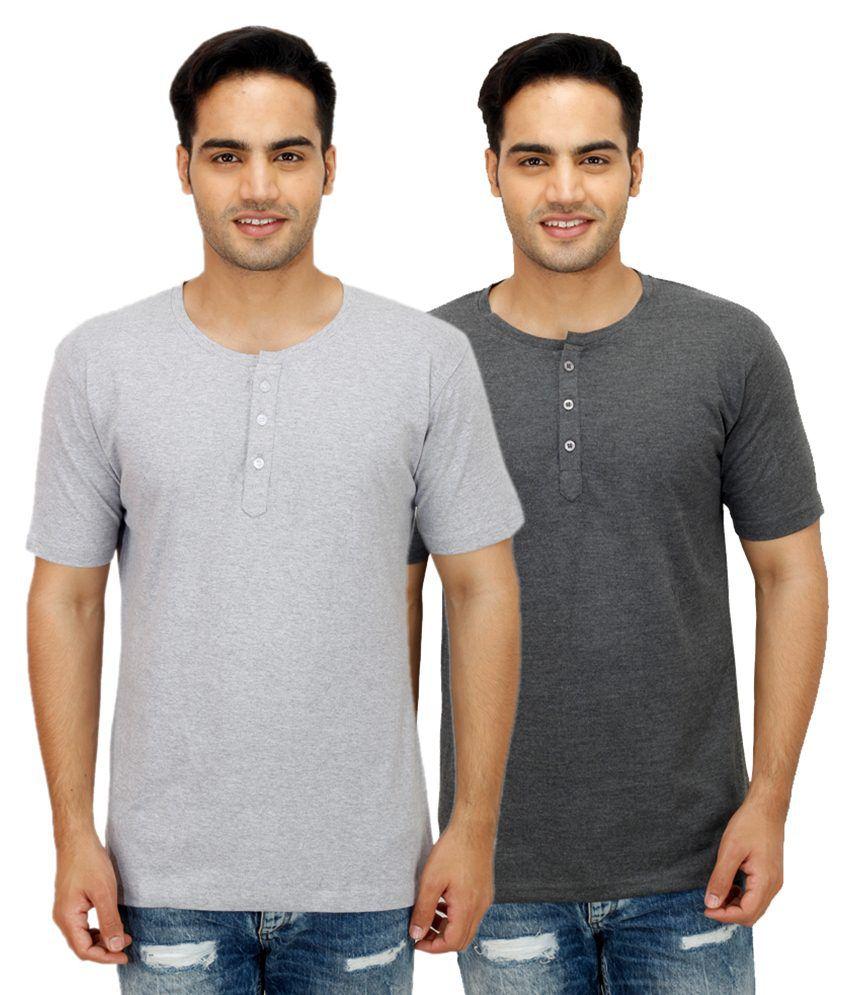 Rakshita's Collection Grey Henley T Shirts Pack of 2