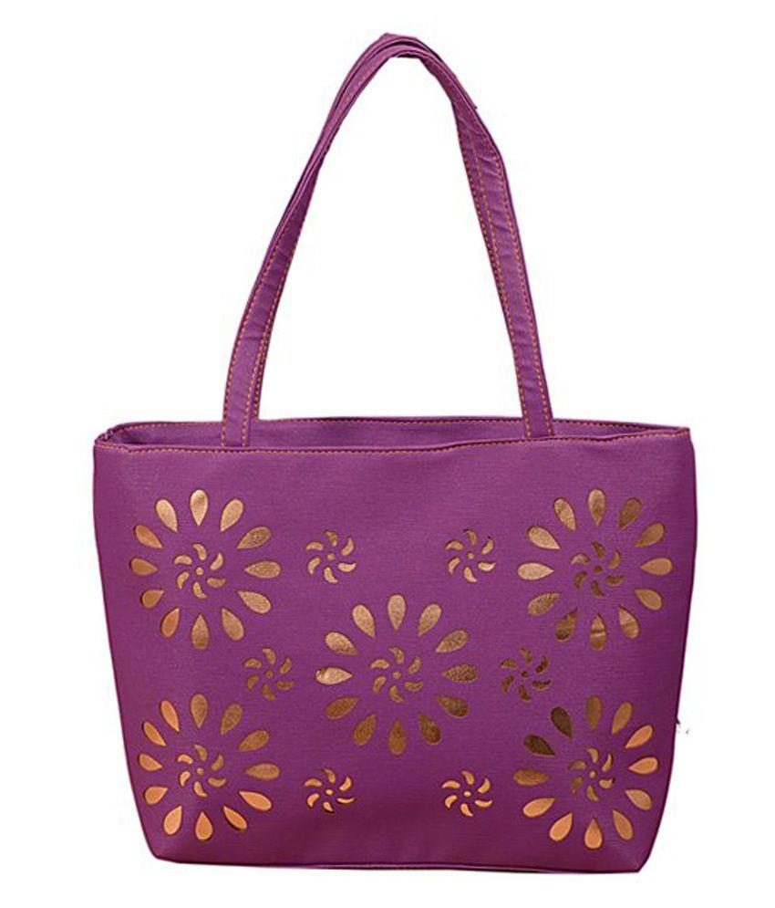 Flying Birds Purple P.U. Tote Bag