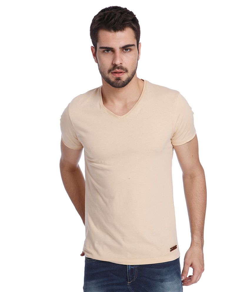 Jack & Jones Beige V-Neck T Shirt
