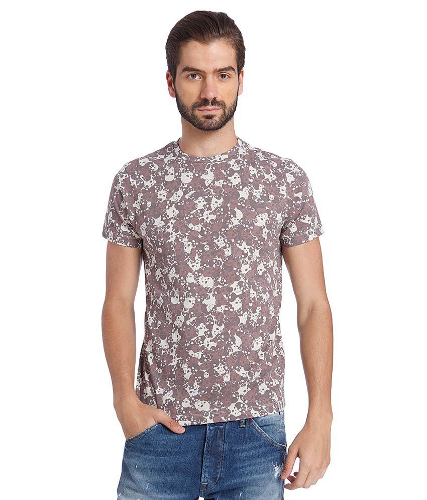 Jack & Jones Brown Round Neck T Shirt