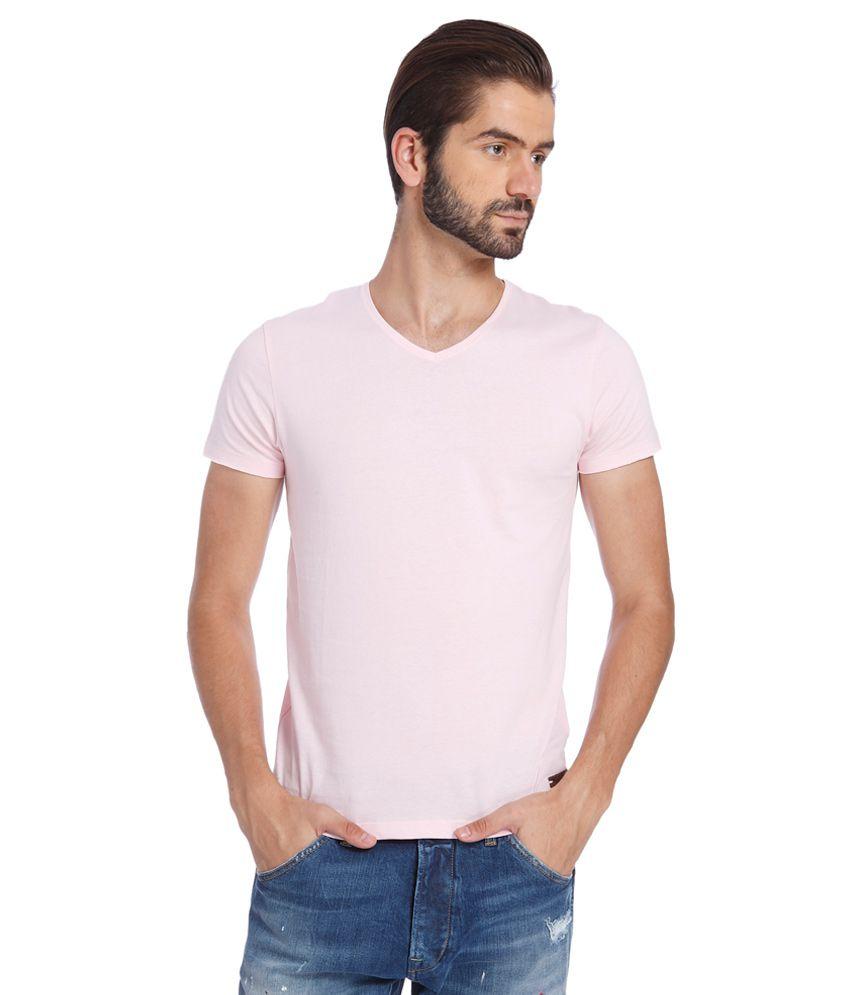Jack & Jones Pink V-Neck T Shirt