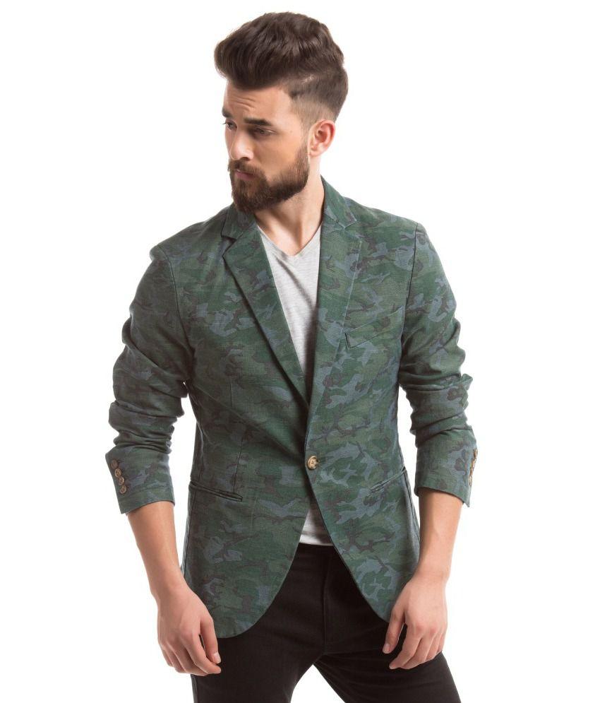Shuffle Green Casual Blazers