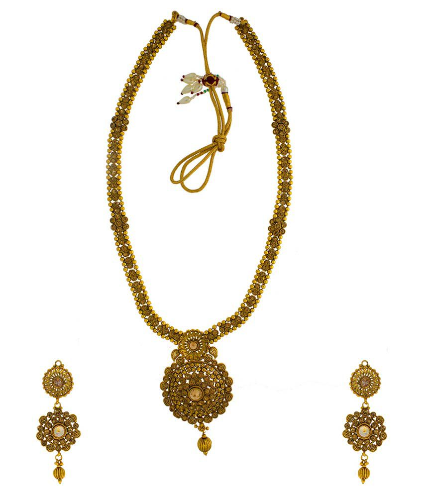 Anuradha Art Gold Alloy Necklace Set With Maang Tika