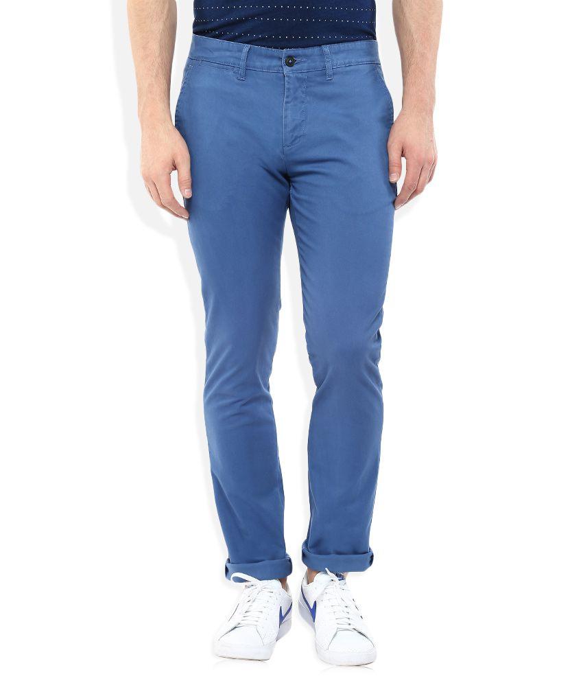 Celio Blue Regular Fit Trousers