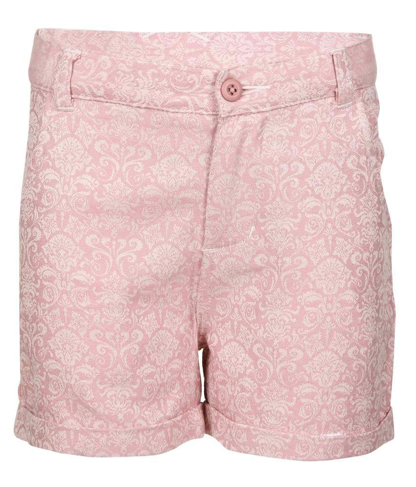Miss Alibi Pink Cotton Blend Shorts For Girls