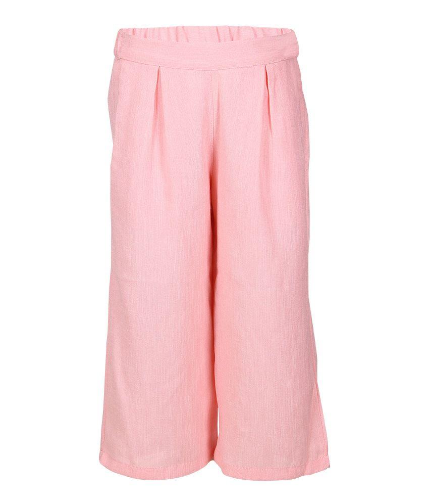Miss Alibi Pink Polyester Capris For Girls