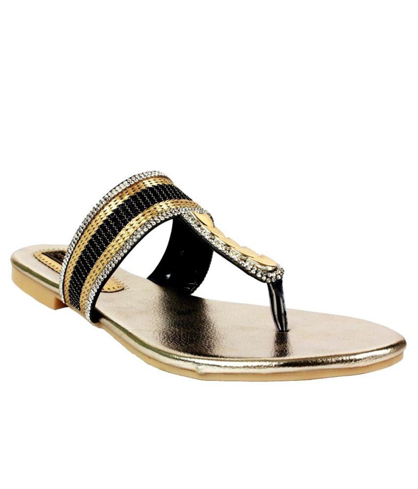 Scantia Gold Ethnic Footwear
