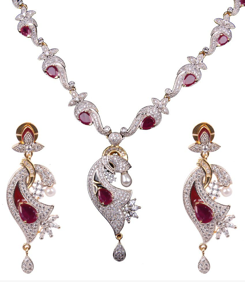 Fasherati White Traditional Designer Necklace Set