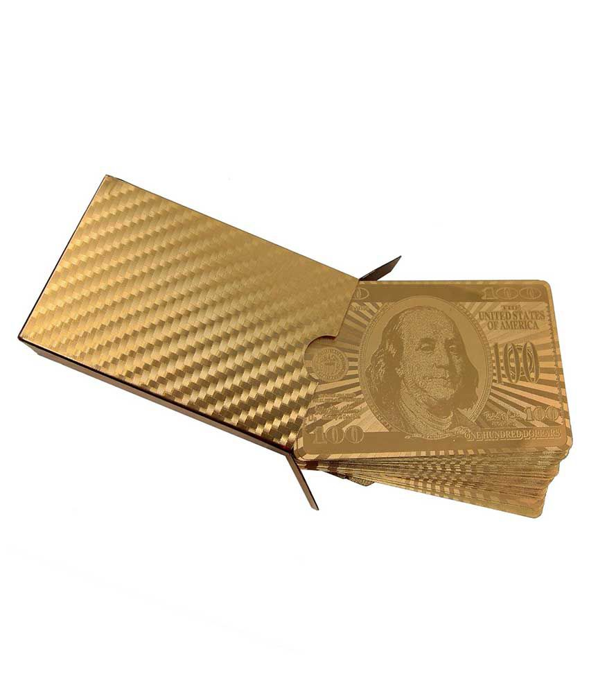 Kartique Combo Of Golden Playing Cards With Wooden Box